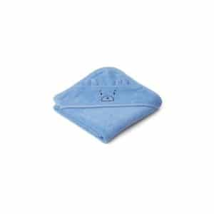 Liewood baby badcape Albert mr Bear sky blue